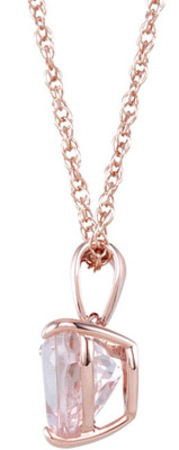 Pretty 1.53ct 8-8.5mm Pink Heart Morganite Gem in a Classy Rose Gold Pendant - FREE Chain