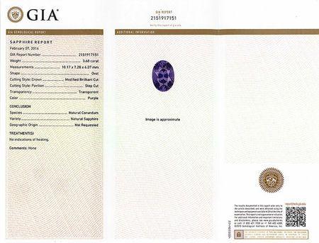 Rare Vivid Lavender Purple No Heat Ceylon Sapphire Gem - Gorgeous Stone, Oval Cut, 10.1 x 7.2 mm, 3.68 carats - With GIA Certificate