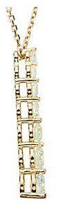 Ravishing Diamond Curved Journey Pendant - Choose Diamond Size and Gold Color - FREE Chain