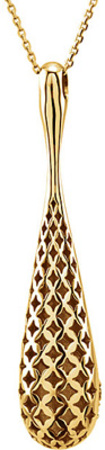 Remarkable .33 ct Teardrop Shape 14k Gold Pendant With - 20 Pave Set 1.50 mm Diamonds in a Curve
