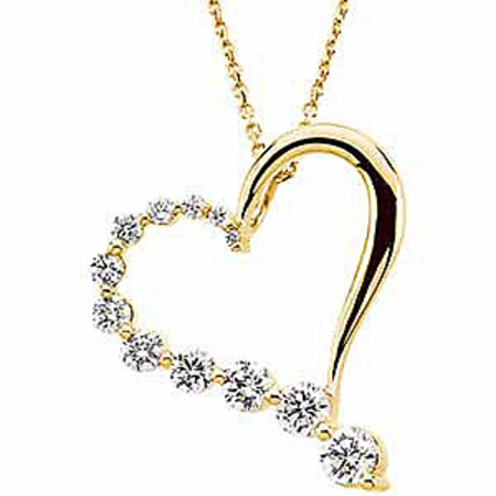 Romantic 1ct Heart Shaped Pendant Half Covered in Diamonds - Choose 14k White or Yellow Gold - FREE Chain
