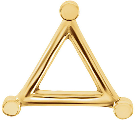 Sleek 14kt Gold 3-Prong Wire Setting for Triangle Shape Gemstone Sized 3.00 mm to 9.50 mm
