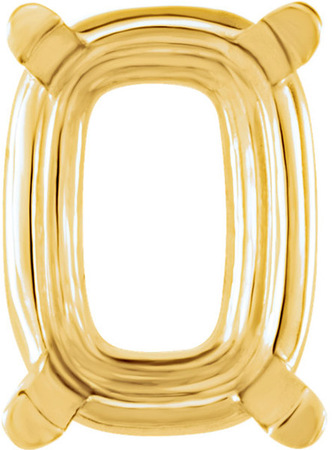 Sleek 14kt Gold 4-Prong Setting for Antique Cushion Shape Gemstone Sized 7.00 x 5.00 mm to 14.00 x 10.00 mm