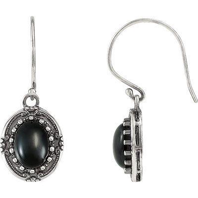 Smoldering Sterling Silver Wire Back 9x7mm Onyx Gemstone Fashion Earrings for SALE