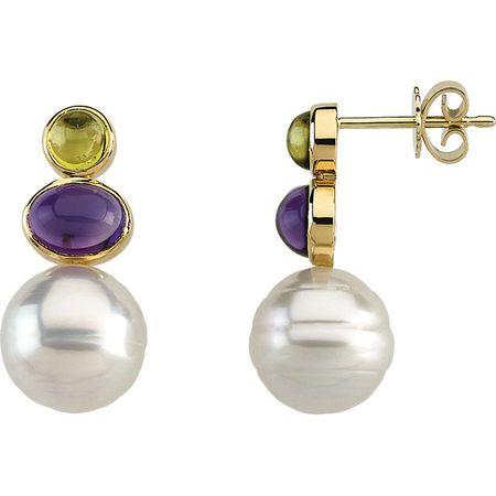 South Sea Cultured Circle Pearl, Genuine Peridot & Genuine Amethyst Earrings