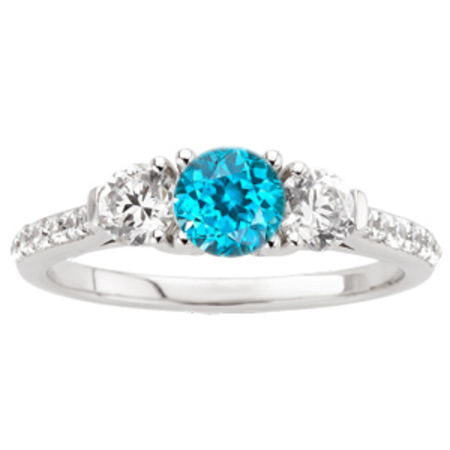 Sparkling Round  Blue Zircon Engagement Ring - Diamond Side Gems and Diamond Accents Along Band - SOLD
