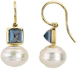 Square London Blue Topaz Dangle Earrings