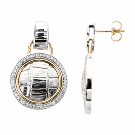 Beautiful Sterling Silver & 14 Karat Yellow Gold 0.50 Carat Total Weight Diamond Earrings