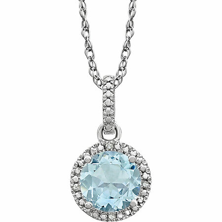 Eye Catchy Sterling Silver Aquamarine & .01 Carat Total Weight Diamond 18