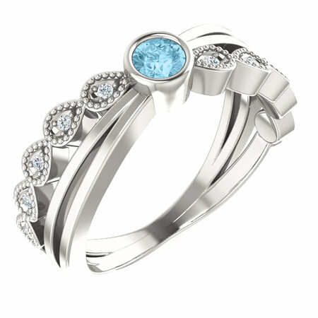 Perfect Jewelry Gift Sterling Silver Aquamarine & .05 Carat Total Weight Diamond Ring