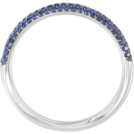 Stunning .4ct Blue Sapphire Anniversary Eternity 1/2 Band with 79 Amazing 1mm Sapphires for SALE