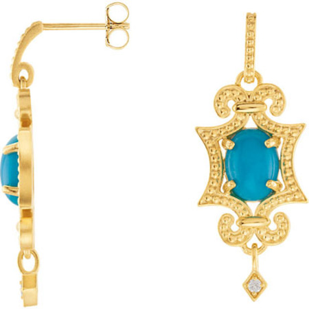 Stunning 8x6mm Cabochon Turquoise Earrings With Granulated Style - Post Back Dangle With Diamond Charm Accent