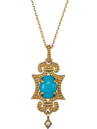 Stunning Granulated Dangle Pendant With .03ct 8x6mm Turquoise Gemstone and Diamond Accent - Metal Type Options - FREE Chain With Pendant