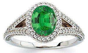 Stunning Large GEM Deep Green .8ct Tsavorite Garnet 7x5mm Oval Cut in Heavy Diamond Pave Gold Ring