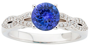 Stunning Twisted Diamond Studded Shank Genuine 1 CARAT 6mm Tanzanite & Gold Ring for SALE