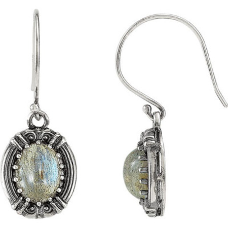 Stylish Victorian Style Sterling Silver Wire Back Earrings With Fabulous 9x7mm Labradorite Gemstones