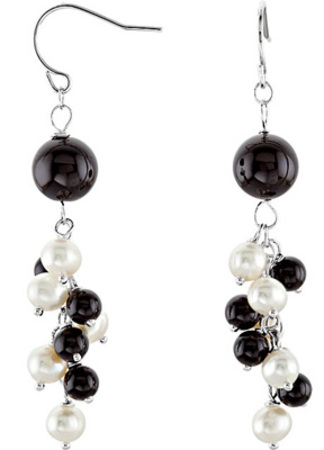 Stylish Wire Back Onyx & Pearl Bead Cluster Earrings in Sterling Silver for SALE