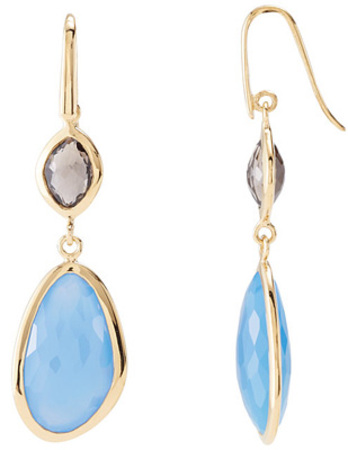 To-Die-For Blue Chalcedony & Smokey Quartz Wire Back Dangle Earrings in 18ky Vermeil