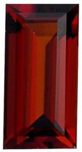 Quality Red Garnet Gem, Baguette Shape, Grade AAA, 4.00 x 2.00 mm in Size, 0.18 carats
