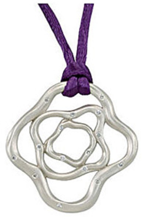 Trendy Absrtact Shape .2ct Diamond Accented Sterling Silver Pendant with Colored Silk Cord
