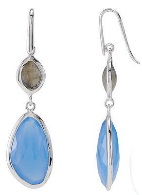 Urban Chic Blue Chalcedony & Labradorite Wire Back Dangle Earrings in Sterling Silver