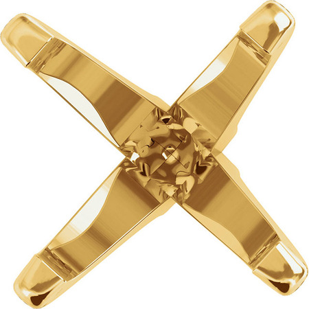 Versatile 14kt Gold 4-Prong Peg Setting for Antique Square Shape Gemstone Sized 5.00 mm to 8.00 mm