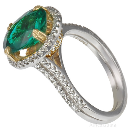 Vibrant Green Gem Emerald set in a Pave Diamond Designer Ring for SALE - 2 Tone 18 kt Gold - SOLD
