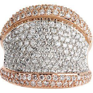 Wow! Stunning 2.25 Carat Total Weight Unique Bling+ 1.20 mm Diamond Ring set in 14 karat Rose & White Gold