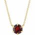 Red Garnet Necklace in 14 Karat Yellow Gold Mozambique Garnet Solitaire 16