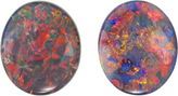 Incredible Gem Black Opal Pair, Stunning Intense Red, Orange, Yellow, Blue & Green Colors, 10.2 x 8.6 mm, 3.95 Carats