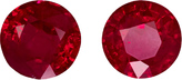 Fiery Red Rubies in Well Matched Pair in Round Cut, 4.8 mm, 1.07 Carats