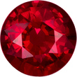 Very Fine Certified Round Ruby Loose Gem, Intense Open Red, 6.3 x 6.4 mm, 1.26 carats