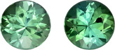 Rich Blue Green Round Pair in Tourmaline Round Cut,  6.5 mm, 2.30 carats