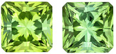 One of a Kind Medium Mint Green Tourmaline Pair in Princess Cut, 6.0 mm, 2.77 carats