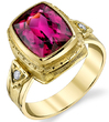 Beautiful Hand Made Bezel Set 4.08ct Cushion Pink Tourmaline18kt Yellow Gold Ring With Diamond Accents