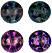 3.5 mm, 0.41 carats Fine Brazilian Alexandrite Pair in Round Cut, 100% Change Teal Blue Green to Burgundy