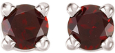 14KT White Gold 3mm Round Mozambique Garnet Friction Post Stud Earrings