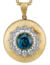 Exquisite Hand Crafted 18kt 2-Tone Gold Pendant With Heirloom 10ct Fine Blue Zircon - Diamond Accents