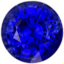 Ideal Sapphire Loose Gem in Round Cut, Intense Rich Blue Color, 6.90 mm, 1.73 carats