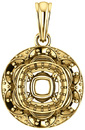Ornate Accented Halo Pendant Mounting for Cushion Shape Centergem Sized 5.00 mm to 10.00 mm - Customize Metal, Accents or Gem Type