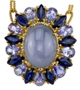 Striking 23 carat Blue Star Sapphire Hand Crafted Pendant With Tanzanite & Marquise Sapphire Frame