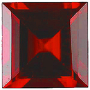 Imitation Red Garnet Square Cut Gems