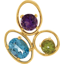 14KT Yellow Gold Genuine Swiss Blue Topaz, Amethyst & Peridot 18