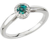 Best Value Real Brazilian Round Cut Color Change GEM 4.0mm Alexandrite & Diamond Engagement Ring in 14 kt White Gold