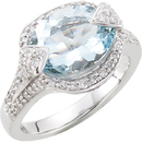 Aquamarine & Diamond Accented Ring