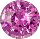Intense Pink Loose Sapphire Gem in Round Cut, 7.0 mm, 1.60 carats