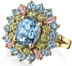 Andrew Sarosi Legacy Gemstone Ring With 2 carat Aquamarine Gem Surrounded By Peridot, Topaz & Pink Spinel - 29 Total Gemstones