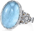 Stylish Large 13 carat Aquamarine Cabochon Handmade Ring in 18kt White Gold & Diamond Accents