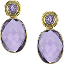 Pretty Amethyst Gemstone Post Back Dangle Earrings With 2 Round Gems (1.89ct) & 2 Oval Checkerboard Gems (21.40ct) - 18kt Yellow Gold