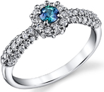 Classic 0.18ct Genuine Alexandrite Gemstone Ring With Diamond Accents in 18kt White Gold
